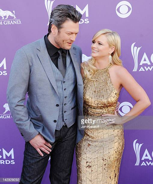 Singer Blake Shelton and wife singer Miranda Lambert arrive at the 47th Annual Academy Of Country Music Awards held at MGM Grand Garden Arena on...