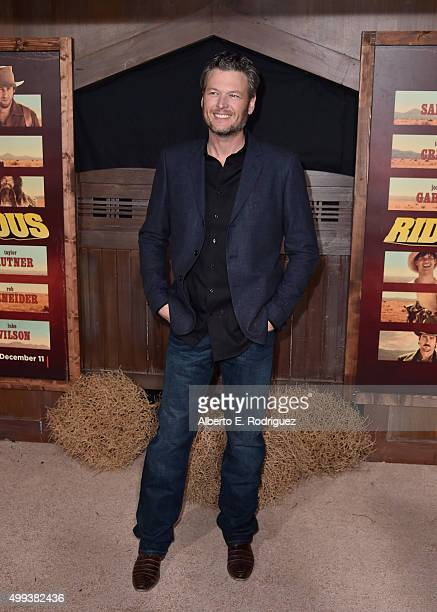 Singer Blake Shelton attends the premiere of Netflix's 'The Ridiculous 6' at AMC Universal City Walk on November 30 2015 in Universal City California