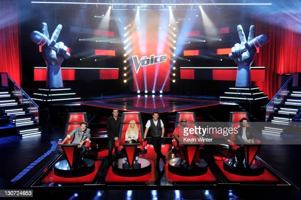 Singer Blake Shelton, host Carson Daly, singer Christina Aguilera, executive producer Mark Burnett, singers Cee Lo Green and Adam Levine appear at a...