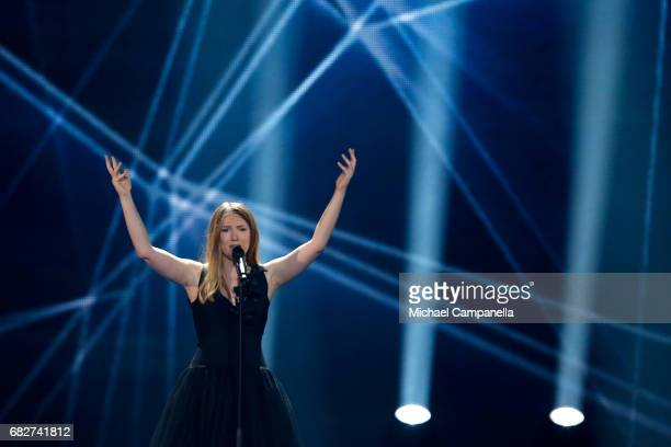 Singer Blanche representing Belgium performs the song 'City Lights' during the final of the 62nd Eurovision Song Contest at International Exhibition...