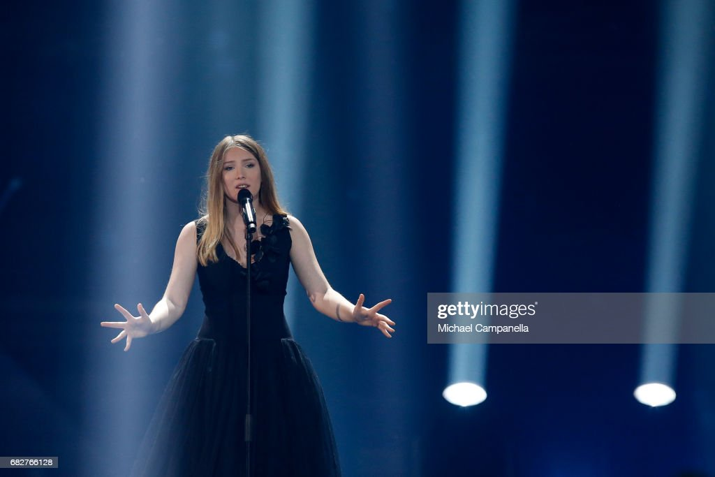 Singer Blanche, representing Belgium, performs the song 'City Lights' during the final of the 62nd Eurovision Song Contest at International Exhibition Centre (IEC) on May 13, 2017 in Kiev, Ukraine.