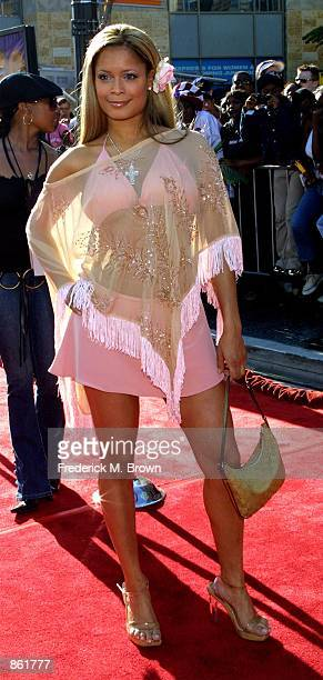 Singer Blu Cantrell attends the 2nd Annual BET Awards on June 25 2002 at the Kodak Theater in Hollywood CA