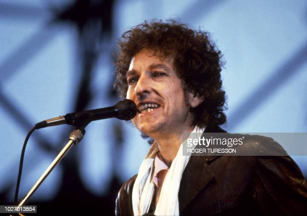 US singer Bob Dylan appeared on stage of the Ullevi Stadium in Gothenburg in Sweden 9th June 1984