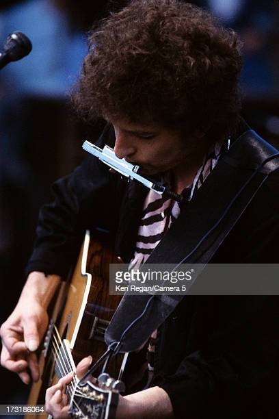 Singer Bob Dylan is photographed in concert in 1984 in Dublin Ireland CREDIT MUST READ Ken Regan/Camera 5 via Contour by Getty Images