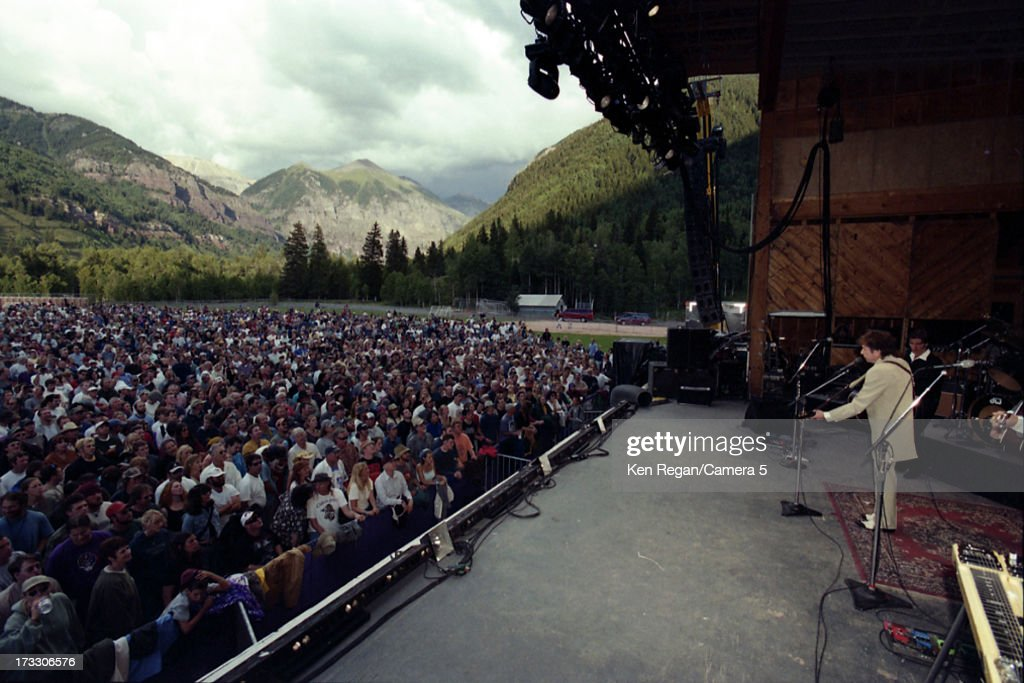 Singer Bob Dylan is photographed in concert in August 2001 in Telluride, Colorado.