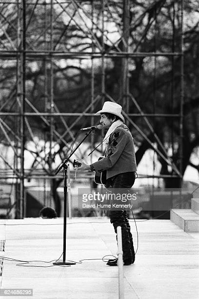 Singer Bob Dylan performs at the first inauguration of President Bill Clinton on January 20 1993 in Washington DC
