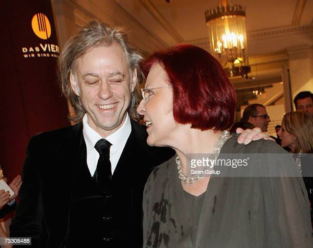 Singer Bob Geldof and German development minister Heidemarie Wieczorek-Zeul attend the Cinema for Peace Charity Gala on 12 February 2007 in Berlin,...