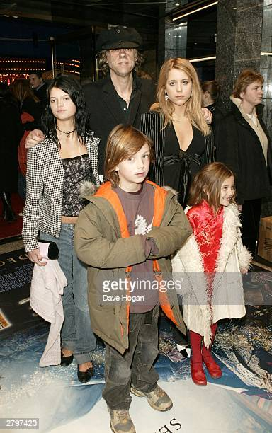 Singer Bob Geldof arrives with Pixie Godson Lewis Peaches Honeyblossom and Tiger Lily at the world premiere of Peter Pan at the Empire Leicester...