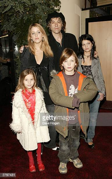 Singer Bob Geldof arrives with Tiger Lily Peaches Honeyblossom Godson Lewis and Pixie at the world premiere of Peter Pan at the Empire Leicester...