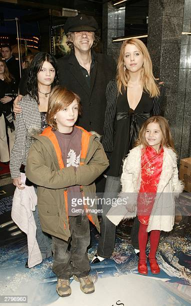 Singer Bob Geldof with L to R Pixie Godson Lewis Peaches Honeyblossom and Tiger Lilly arrive for the World Premiere of Peter Pan at the Empire...