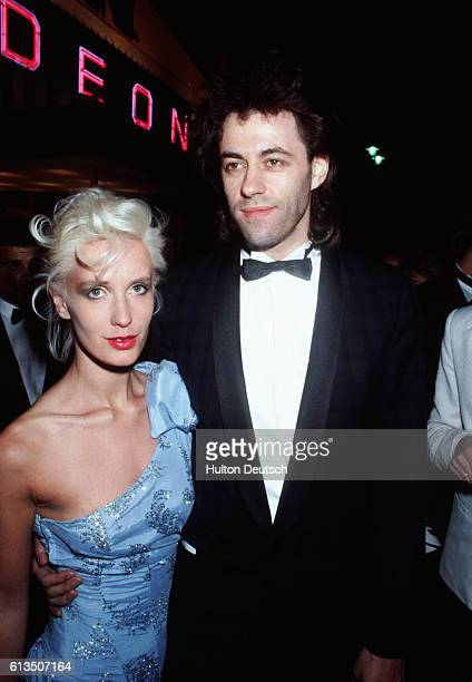 Singer Bob Geldolf and his wife Paula Yates at the premiere of Bond film A View to a Kill