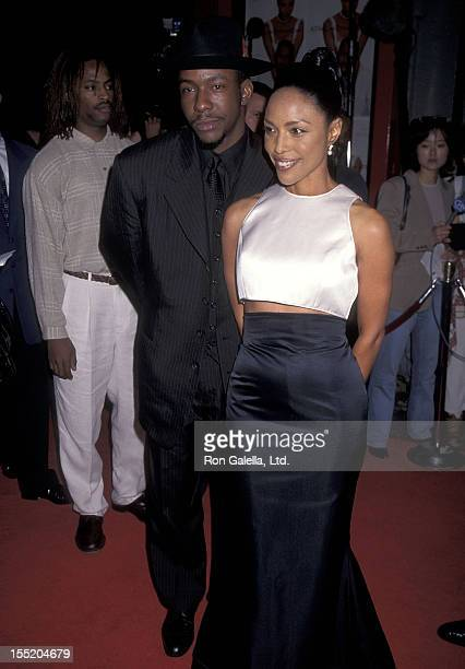 Singer Bobby Brown and actress Lynn Whitfield attend A Thin Line Between Love and Hate Hollywood Premiere on April 2 1996 at Mann's Chinese Theatre...