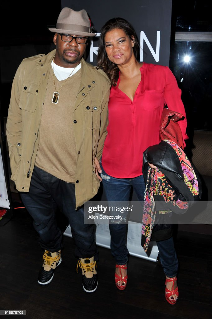 Singer Bobby Brown and Alicia Etheredge attend the NBA All-Star Bowling Classic at Lucky Strike LA Live on February 15, 2018 in Los Angeles, California.