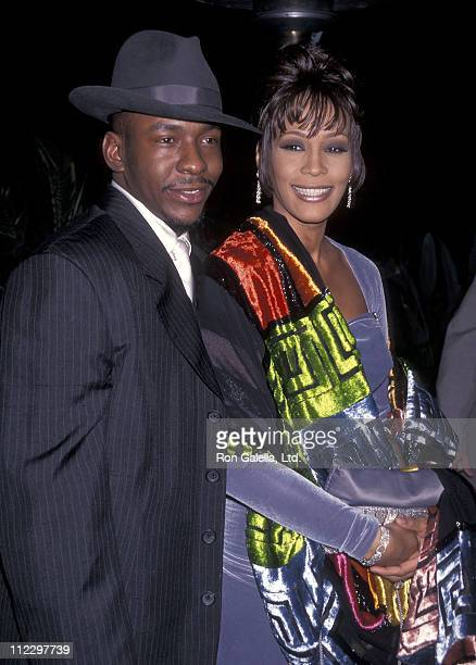 Singer Bobby Brown and singer Whitney Houston attend the 38th Annual Grammy Awards PreParty Hosted by Clive Davis on February 27 1996 at Beverly...
