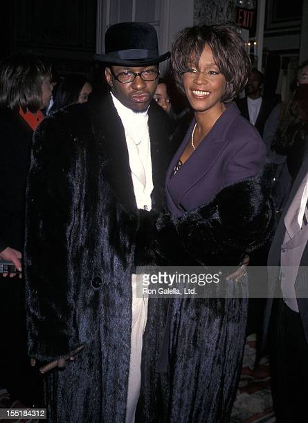 Singer Bobby Brown and singer Whitney Houston attend the 40th Annual Grammy Awards PreParty Hosted by Clive Davis on February 24 1998 at The Plaza...