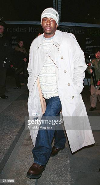 Singer Bobby Brown arrives for the Sean John collection fashion show February 10 2001 in New York City The Sean John collection part of Sean Puffy...
