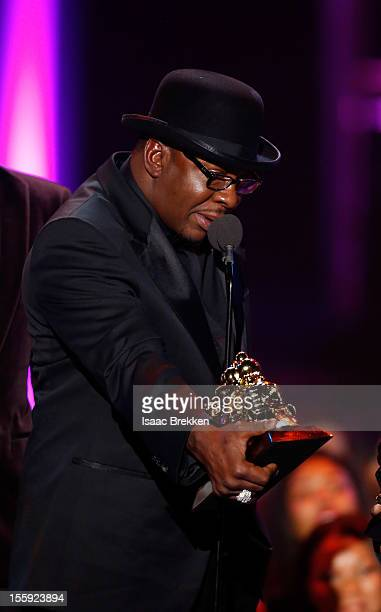 Singer Bobby Brown of New Edition accepts the Soul Train Lifetime Achievement Award during the Soul Train Awards 2012 at PH Live at Planet Hollywood...