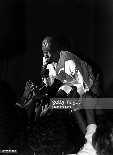 Singer Bobby Brown performs at Navy Pier in Chicago Illinois in 1987