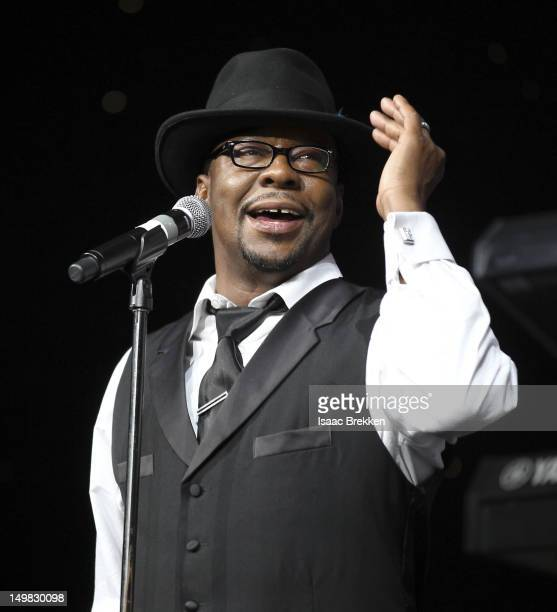 Singer Bobby Brown performs onstage during the 10th Annual Ford Hoodie Awards at the MGM Grand Garden Arena on August 4 2012 in Las Vegas Nevada
