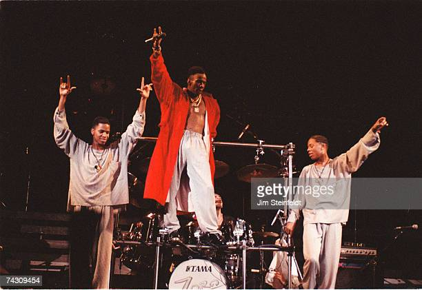 RB singer Bobby Brown performs onstage with his group in 1989 in Minneapolis Minnesota