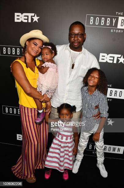 Singer Bobby Brown pose with his family members Alicia EtheredgeBrown Bodhi Brown Hendrix Brown and Cassius Brown at The 'BobbyQ' Atlanta Premiere Of...