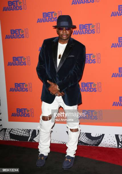 Singer Bobby Brown poses for photos in the press poom at the 2018 BET Awards at Microsoft Theater on June 24 2018 in Los Angeles California