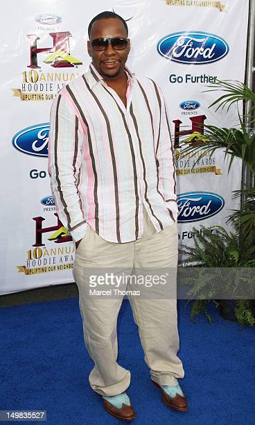 Singer Bobby Brown walks the blue carpet at the 10th Annual Ford Hoodie Awards at MGM Garden Arena on August 4, 2012 in Las Vegas, Nevada.