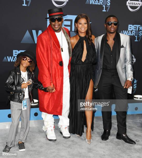 Singer Bobby Brown wife Alicia Etheredge and sons Cassius Brown and Bobby Brown Jr attend the 2017 BET Awards at Microsoft Theater on June 25 2017 in...