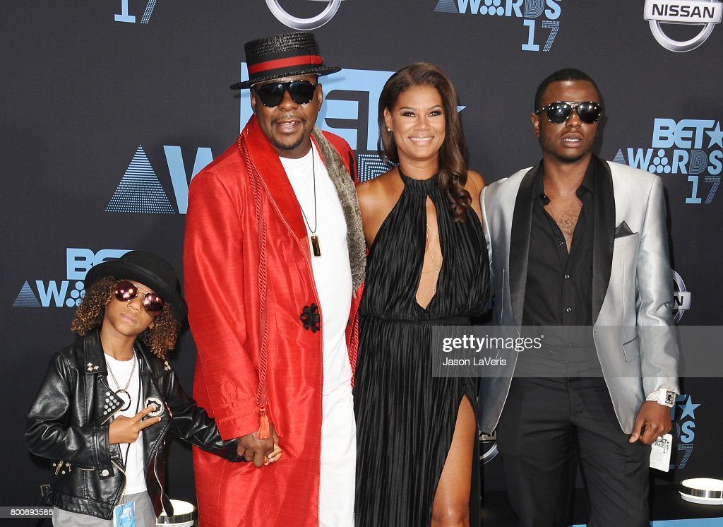 Singer Bobby Brown, wife Alicia Etheredge and sons Cassius Brown and Bobby Brown Jr. attend the 2017 BET Awards at Microsoft Theater on June 25, 2017 in Los Angeles, California.
