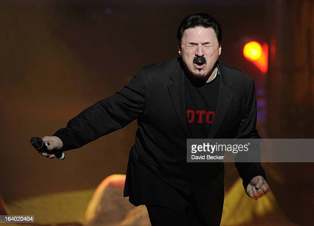 Singer Bobby Kimball performs in the grand opening of 'Raiding the Rock Vault' at the Las Vegas Hotel Casino on March 18 2013 in Las Vegas Nevada