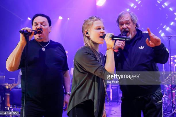 US singer Bobby Kimball singer Julia Mandoki and canadian musician singer and songwriter David ClaytonThomas perform at the last rehearsal for the...