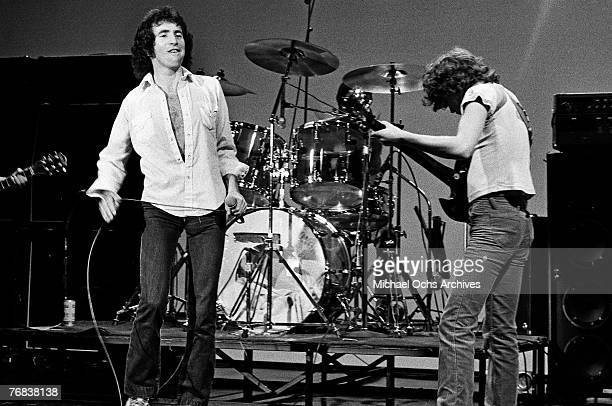 Singer Bon Scott and lead guitarist Angus Young of AC/DC rehearse for a gig circa 1977 in Hollywood California