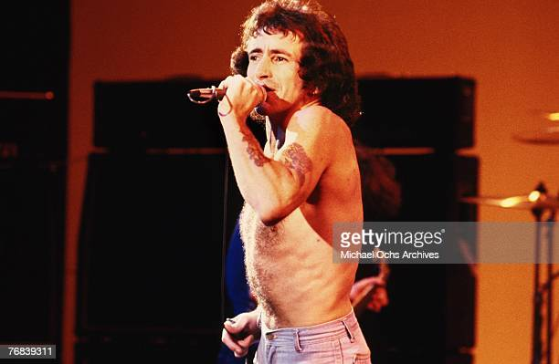 Singer Bon Scott of AC/DC performs a song circa 1977 in Hollywood California