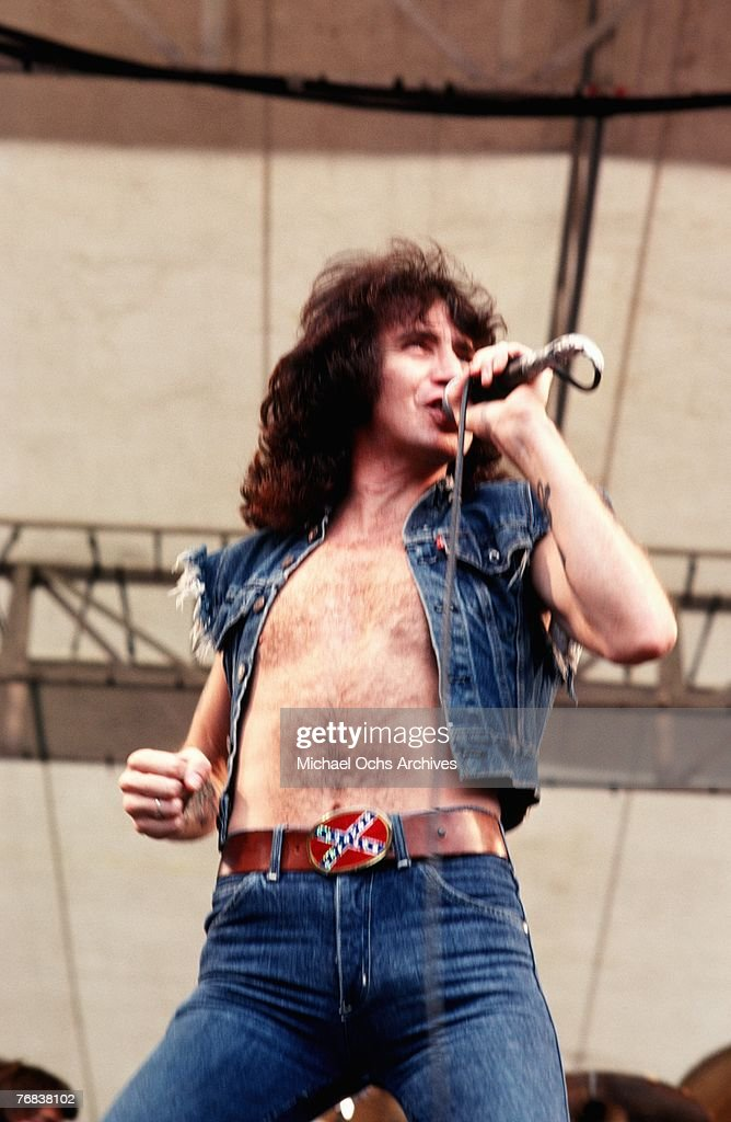 Singer Bon Scott of rock band AC/DC performs a gig in August 1979 in Hollywood, California.