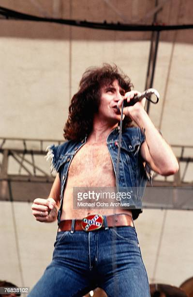 Singer Bon Scott of rock band AC/DC performs a gig in August 1979 in Hollywood California