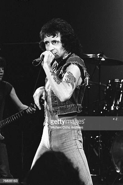 Singer Bon Scott who died in early 1980 belts out a number circa 1977 in Hollywood California