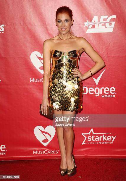 Singer Bonnie McKee attends the 2014 MusiCares Person of the Year honoring Carole King at Los Angeles Convention Center on January 24 2014 in Los...