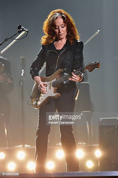 Singer Bonnie Raitt performs a tribute to the late BB King onstage during The 58th GRAMMY Awards at Staples Center on February 15 2016 in Los Angeles...