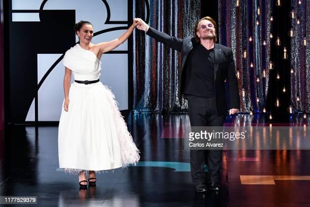 Singer Bono delivers the Donostia award to spanish actress Penelope Cruz at Kursaal during 67th San Sebastian International Film Festival on...