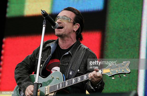Singer Bono from the band U2 performs on stage at Live 8 London in Hyde Park on July 2 2005 in London England The free concert is one of ten...