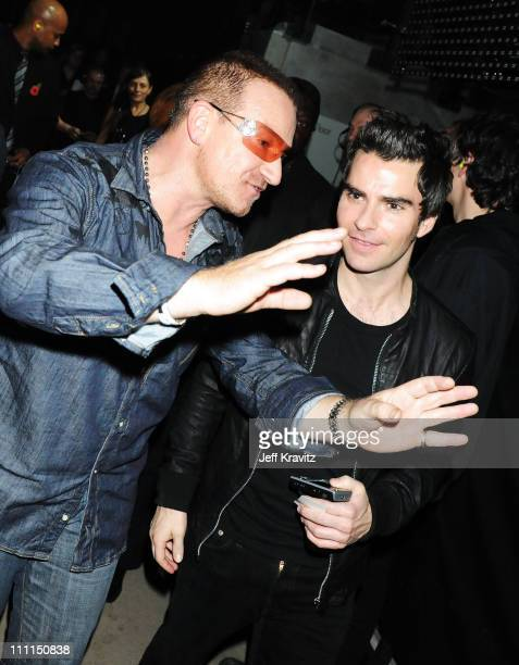 Singer Bono from U2 and Kelly Jones from Stereophonics backstage at the 2008 MTV Europe Music Awards held at at the Echo Arena on November 6 2008 in...