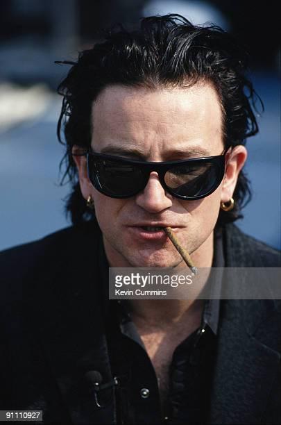 Singer Bono of Irish rock group U2 circa 1992
