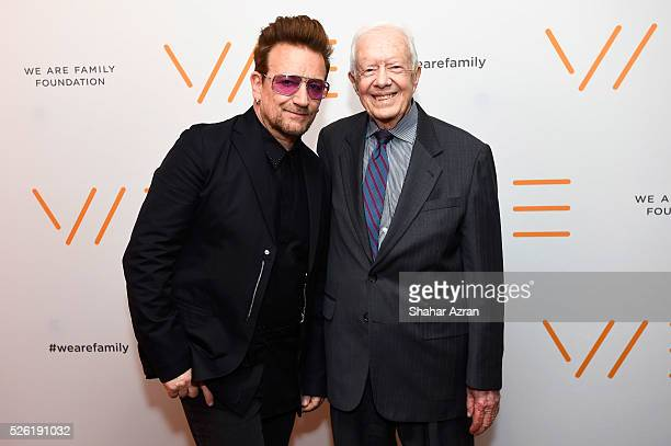 Singer Bono of U2 and former President Jimmy Carter attend We Are Family Foundation 2016 Celebration Gala on April 29 2016 in New York New York