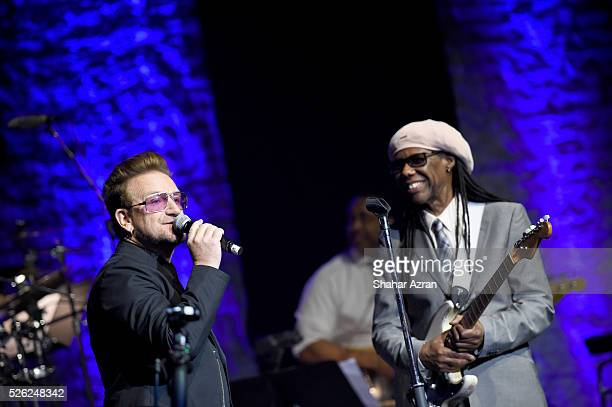 Singer Bono of U2 and Nile Rodgers attends We Are Family Foundation 2016 Celebration Gala on April 29, 2016 in New York, New York.