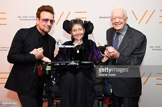 Singer Bono of U2 Dr Jeni Stepanek and former President Jimmy Carter attend We Are Family Foundation 2016 Celebration Gala on April 29 2016 in New...