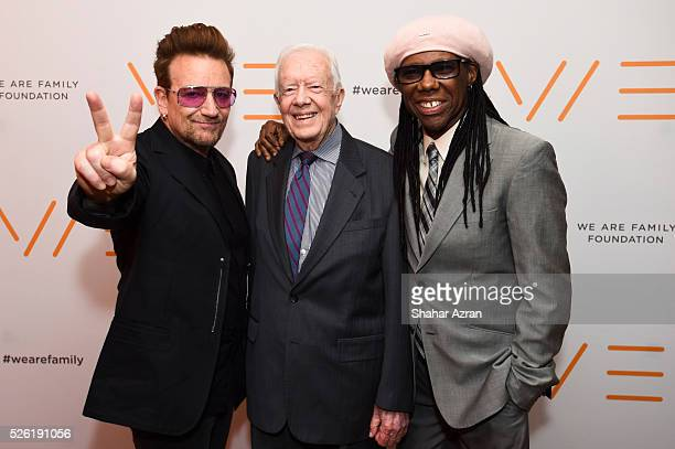 Singer Bono of U2 former President Jimmy Carter and cofounder of WAFF Nile Rodgers attend We Are Family Foundation 2016 Celebration Gala on April 29...