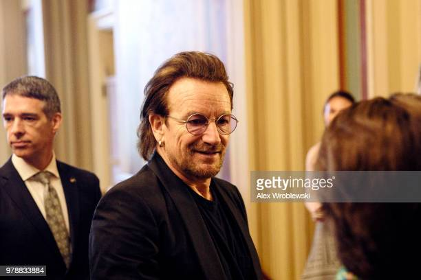 Singer Bono of U2 greets people at the US Capitol on June 19 2018 Bono is Washington to meet with lawmakers
