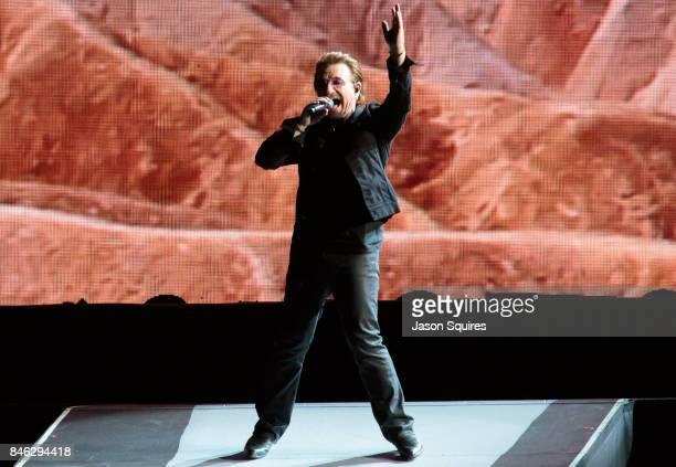 Singer Bono of U2 performs during the Joshua Tree Tour at Arrowhead Stadium on September 12, 2017 in Kansas City, Missouri.