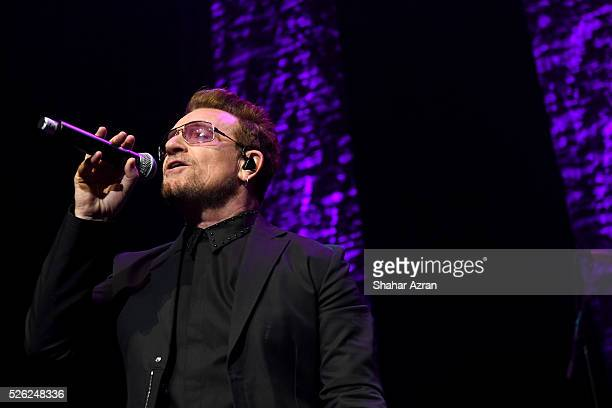 Singer Bono of U2 performs during We Are Family Foundation 2016 Celebration Gala on April 29, 2016 in New York, New York.