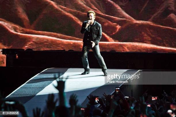 Singer Bono of U2 performs live on stage during a concert at the Olympiastadion on July 12 2017 in Berlin Germany